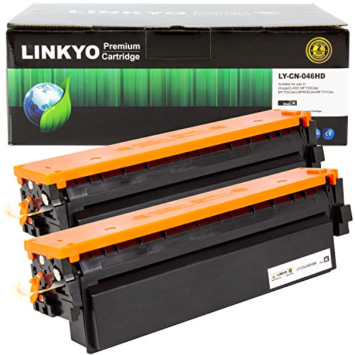 LINKYO Compatible Toner Cartridge Replacement for Canon 046 High Capacity 046H (Black, 2-Pack)