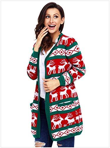 Maglia Verde Classiche Giubotto Tasche Anteriori Manica Pullover Giacca Reindeer Donna Casual Maglioni Stampate Tempo Di Autunno Donne Libero Lunga Moda A 6RPxUwvZ