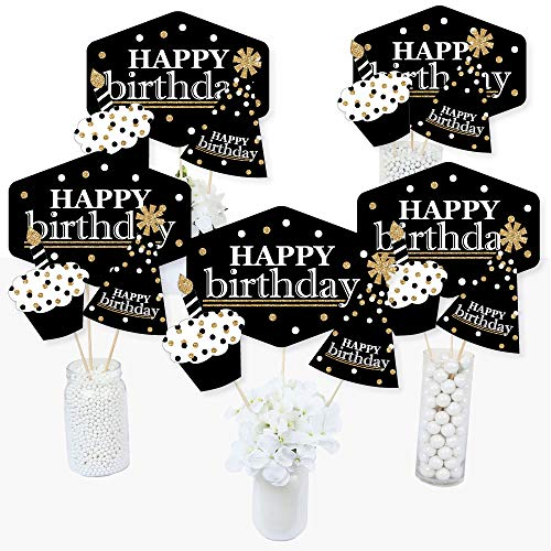 Table Centerpiece Birthday Party (Adult Happy Birthday - Gold - Birthday Party Centerpiece Sticks - Table Toppers - Set of 15)