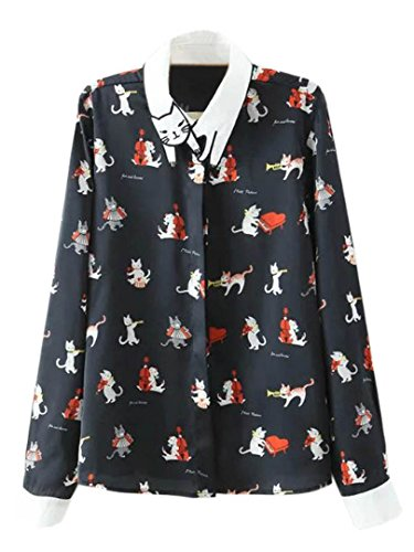 Choies Women's Navy Kitty Musician Print Cat Pattern Collar Shirt Top S