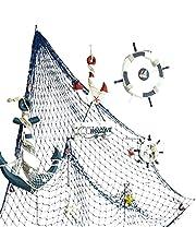 Mediterranean Decorative Fishing Net Thick Line Hemp Rope Shell Net Photography Props Kindergarten Background Wall Decoration Ornaments Fish Net 1.5 * 2M