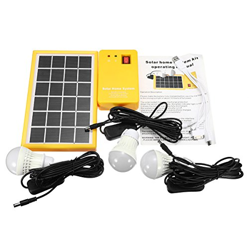 Disumos Solar Power Panel Generator Kit 5V USB Charger Home System with 3 LED Bulbs Light