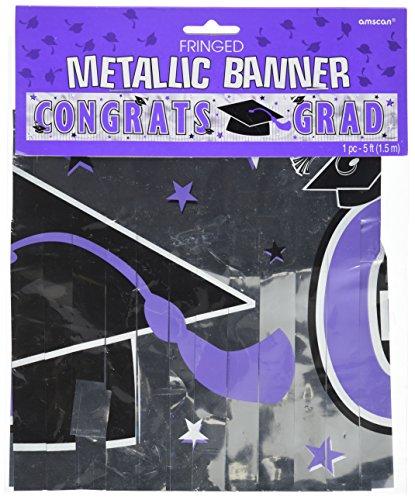Congrats Grad Graduation Party Metallic Fringe Banner Decoration, Purple, Foil , 5' x ()