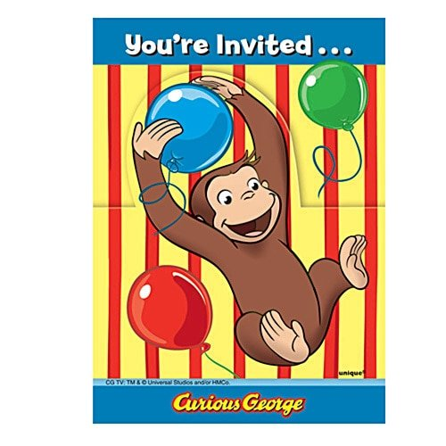 8 Curious George Invitations -