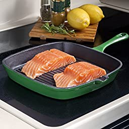 Non Stick Enamel Cast Iron Square Grill Pan, from BackCountry Chef, Timeless and Durable, Beautiful Forest Green