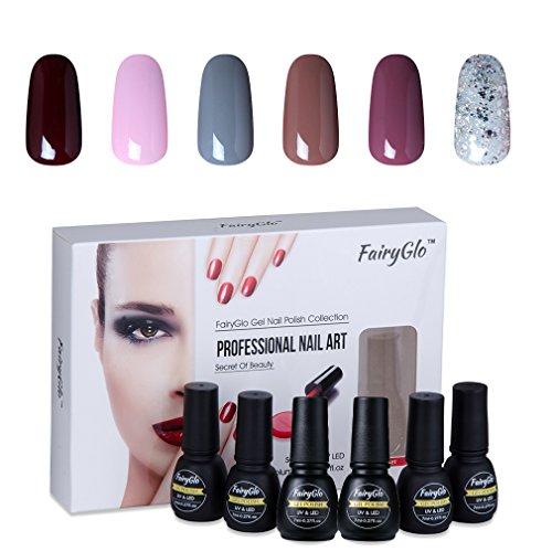 Nail Polish UV LED Nail Art Soak Off Starter Kit Varnish Gel Nails 6PCS FairyGlo 7ml 1015