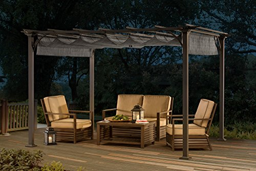 Sunjoy 10 39 x 8 39 naples pergola top gray buy online in for Outdoor furniture jeddah