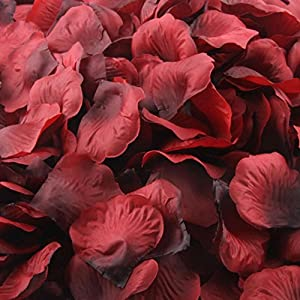DZT1968 1000pcs Burgundy Silk Rose Artificial Petals Wedding Party Flower Favors Decor 45mm45mm (Wine) 32