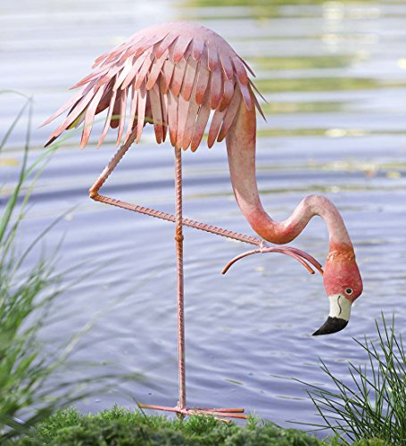 Outdoor Handcrafted Reclaimed Metal Bowing Flamingo Garden Stake Whimsical Decor Yard Art 20.5 L x 9 W x 31.75 H by Wind & Weather (Image #1)