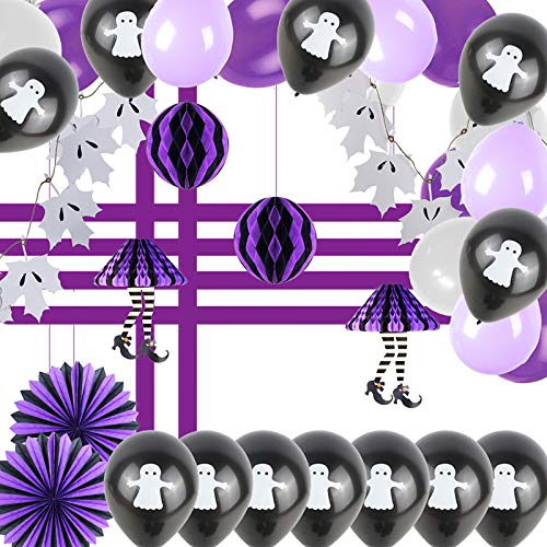 37Pcs Halloween Party Decorations Accessories Ghost Leaf Garland Witch Legs Hanging Decor Paper Fans Balls Birthday Wedding Balloon DIY -