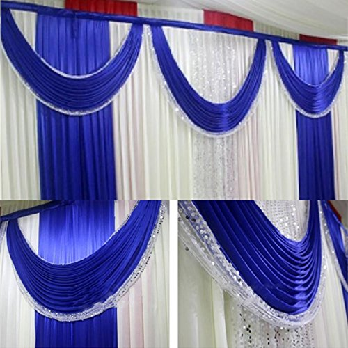 3Mx3M Three Fold Dark Blue Wedding Stage Backdrop Party Drapes With Swag Soft by unbrand