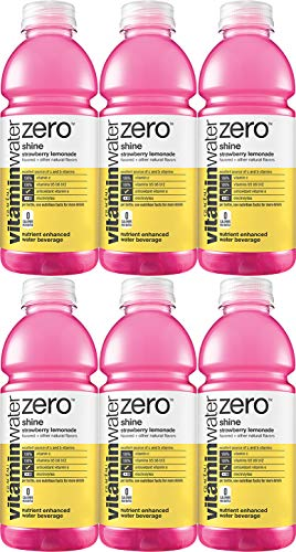 Vitamin Water Zero, Strawberry Lemonade - Shine, 20oz Bottle (Pack of 6, Total of 120 Oz)