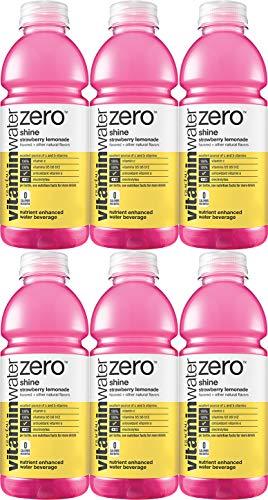 Vitamin Water Zero, Strawberry Lemonade - Shine, 20oz Bottle (Pack of 6, Total of 120 Oz)