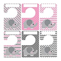 Closet Doodles 6 baby clothing dividers elephants gray pink any size Plus 48 ...