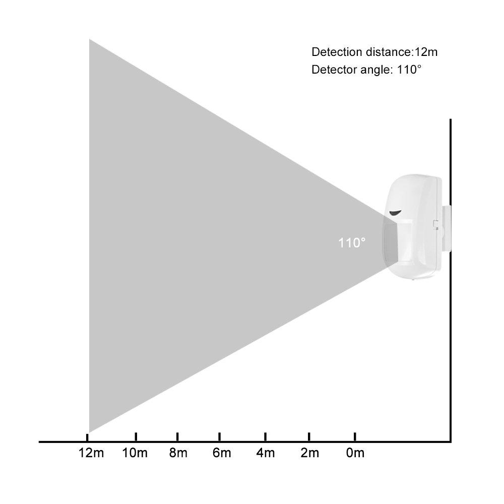 OWSOO Sensor de Movimiento Inalámbrico PIR con Alarma 433MHz Detector Infrarrojo para Seguridad de Hogar