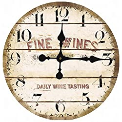 Toright Vintage Antique Looking Style Daily Wine Tasting Middle Hanging Wall Clock Shop Pub Decor 16inch