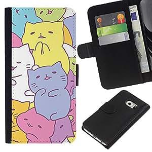 [Neutron-Star] Modelo colorido cuero de la carpeta del tirón del caso cubierta piel Holster Funda protecció Para Samsung Galaxy S6 EDGE (NOT S6) [Cute Kittens Drawing Pastel Colorful]