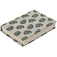 Sari Writing Journal/Travel Diary -Clearance Sale Items - Handmade Gray Crepe Fabric Wrapped Hardcover - Pink & Green Block-Printed Paisley Poet's Notebook/Scrapbook - Clearance Sale Items