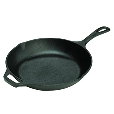 Lodge 10 Inch Cast Iron Chef Skillet. Pre-Seasoned Cast Iron Pan with Sloped Edges for Sautes and Stir Fry.