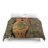 Society6 Colorful Antique Map Of Paris, 1550 Comforters Full: 79'' x 79''