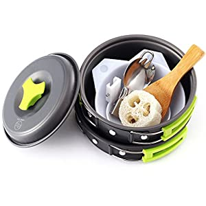 Camping Cookware - Cooking Set includes Pot, Pan, Utensils, Cups, and cleaning Loofah. Nonstick Equipment for Hiking, Backpacking, and Camp Cooking (Small - 10 Piece)
