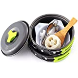 10 Piece Camping Cookware Mess Kit with Backpacking Carry Sack