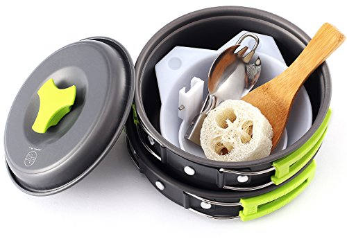 Camping Cookware - Cooking Set includes Pot, Pan, Utensils, Cups, and cleaning Loofah. Nonstick Equipment for Hiking, Backpacking, and Camp Cooking (Small - 10 - Mess Kit Teflon