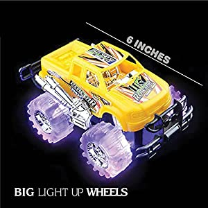"""Light Up Monster Truck set for Boys and Girls by ArtCreativity - Set Includes 2, 6"""" Monster Trucks With Beautiful Flashing LED Tires - Push n Go Toy Cars Best Gift for Kids - For Ages 3+"""