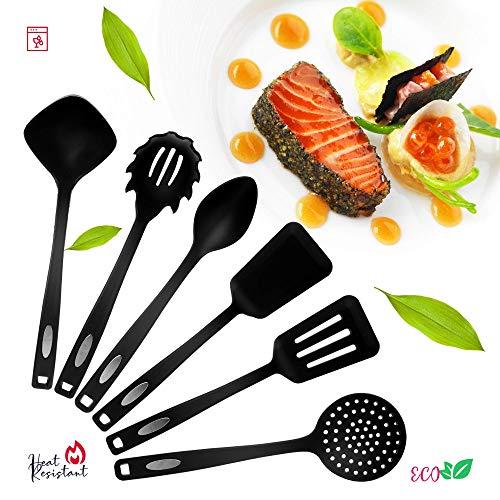 Cooking Utensil set - Best Nonstick Nylon Kitchen Gadgets for Home - Spatula set Slotted Spoon Pasta Server Ladle Heat Resistant - Reusable Kitchen Ware Set (Black - modification 2) (Nylon Spoon Spatula)