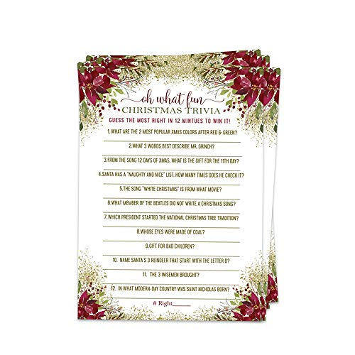 Rustic Christmas Party Games Holiday Trivia Card (25 Pack) Poinsettia Red and Gold (Trivia Christmas On)
