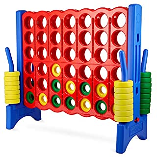 Giant 4 in a Row Connect Game – 4 Feet Wide by 3.5 Feet Tall Oversized Floor Activity for Kids and Adults – Jumbo Sized for Outdoor and Indoor Play - Blue/Red