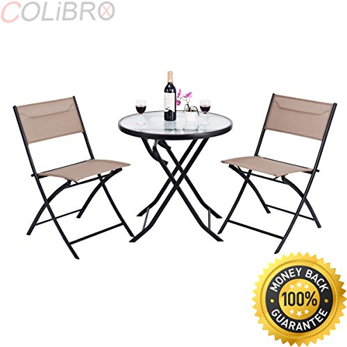 COLIBROX 3 Piece Table Chair Set Metal Tempered Glass Folding Outdoor Patio Garden Pool. walmart patio furniture. best amazon 3 piece outdoor bistro set. outdoor furniture. bistro set walmart. by COLIBROX