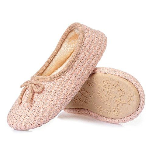 Thgonwid Femmes Cachemire Supérieure En Peluche Doublure Maison Pantoufles Lavables Confortables Chaussures Dintérieur Rose