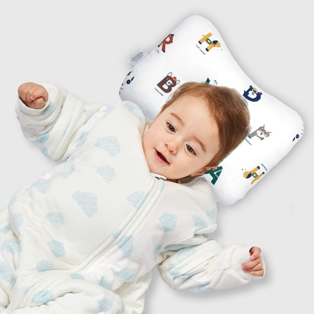 Forest Flat Head Syndrome Pillow Double-Sided Available NIUXUAN Newborn Baby Head Pillow Comfortable Breathable Cushion for Head and Neck Support 0-12 Months