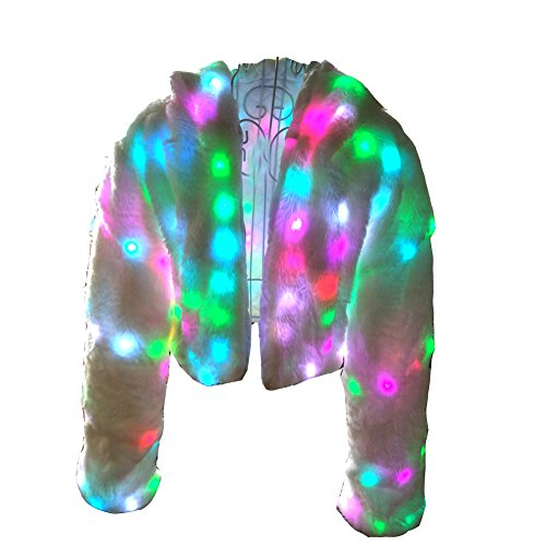 Abrigo Fur Ohlees® Realizar Parte Navidad Dance Abrigo Chaleco Coat Faux Up Vest Led Light rqwqxgOY