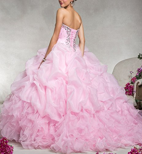 Ball Lace up Pink Gown Sweetheart Women's Quinceanera Floor Dearta Dresses Organza 5XxRUqwf