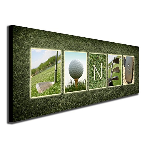Name Prints Art Personalized (Personal Prints SM Block Mount - Personalized Golf Name Art - Perfect and unique customized gift for the golfer or golf enthusiast)