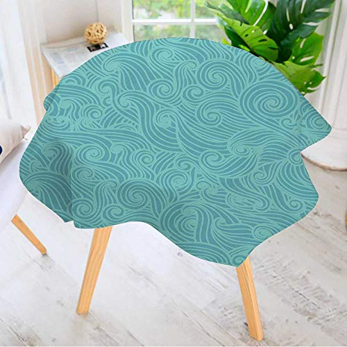Leighhome Round Tablecloth- Wavy Seamless Pattern Hand Drawn