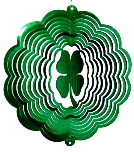 Spinner Clover (Stainless Steel Four Leaf Clover - 12 Inch Wind Spinner - Green)