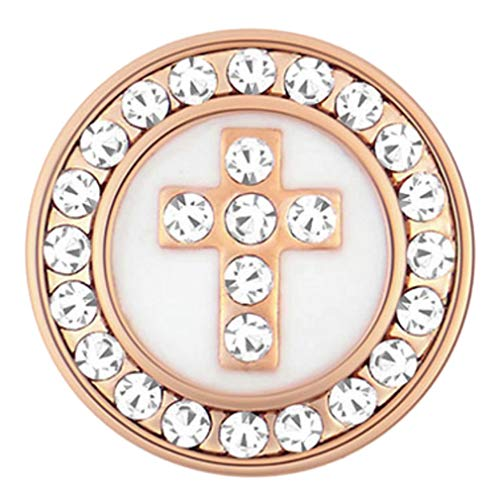 Ginger Snaps Petite Collection Rose Gold White Clear Cross Interchangable Jewelry Snap ()