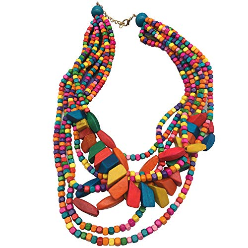 Halawly Multicolored Beaded Wood Bead Layered Necklace (Multicolor)