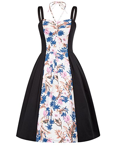 Belle Poque Women's A-Line Midi Straps Sweetheart Picnic Party Dress Size XL (A-line Straps Sweetheart Sleeveless)