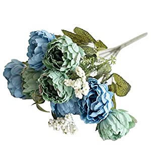 top0dream 1Pc Artificial Flower Peony Home Garden Stage Wedding Arrangement Party Decor for Indoor Outside Hanging Decorations - Light Blue 46