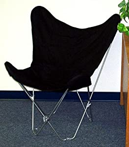 Solid Black Canvas Butterfly Chair Cover Only