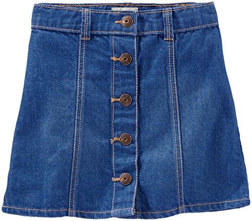 OshKosh B'Gosh A-Line Button Front Skirt, Aquamarine Wash, 5 -