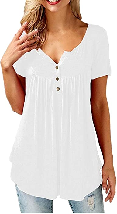 Boutique sale Camisas Y Blusas para Mujer Blusas De Manga Corta con Blusa Abotonada Blusa Casual De Manga Larga con Botones con Volantes Y Blusas con Cuello En V Camisas: Amazon.es: Ropa