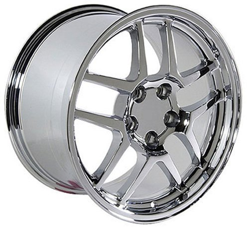18x10.5 Wheel Fits Corvette, Camaro - C5 Z06 Style Chrome Rim, Hollander 5147 - REAR FITMENT ONLY (56c Bolt)