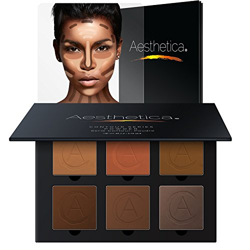 Aesthetica Cosmetics Contour Kit - Powder Contour, Highlighter & Bronzer - Tan to Deep Skin Tones