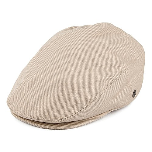 (Lightweight Classic Cotton Ivy/Newsboy/Paperboy/Flat Cap Hat with Fixed Sizing and Satin Lining (XX-Large, Beige))