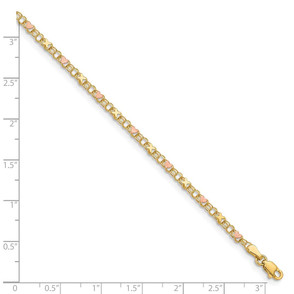 FB Jewels Solid 14K Yellow Gold and Rose Rhodium XS and Hearts Anklet